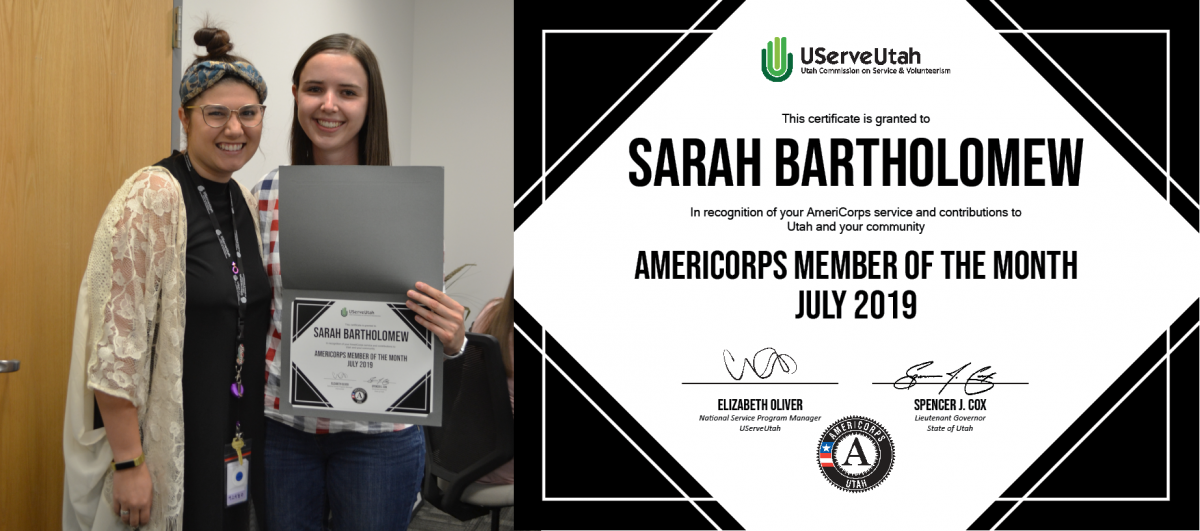 Picture of AmeriCorps Member of the Month and her award