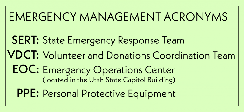 EMERGENCY MANAGEMENT ACRONYMS: SERT: State Emergency Response Team VDCT: Volunteer and Donations Coordination Team EOC: Emergency Operations Center (located in the Utah State Capitol Building) PPE: Personal Protective Equipment